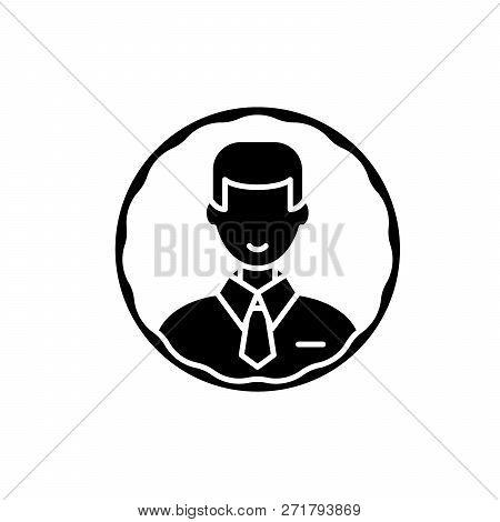 Staff Profile Black Icon, Vector Sign On Isolated Background. Staff Profile Concept Symbol, Illustra