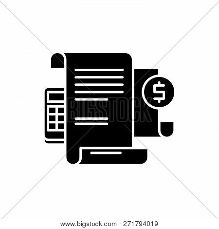 Financial Instructions Black Icon, Vector Sign On Isolated Background. Financial Instructions Concep