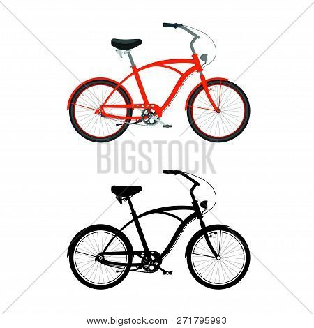 Cruiser Bicycle In Color. Cruiser Bike Silhouette.