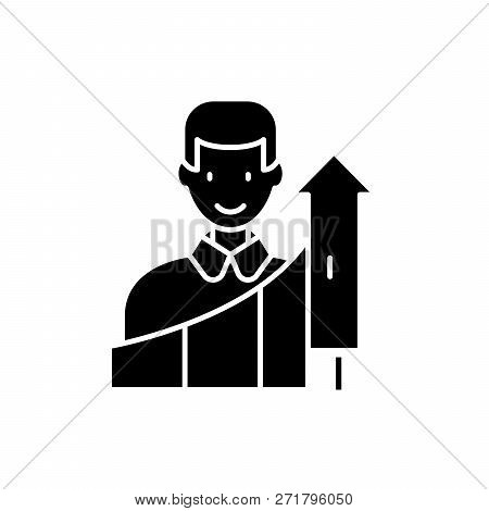 Personal Growth Black Icon, Vector Sign On Isolated Background. Personal Growth Concept Symbol, Illu
