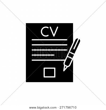 Writing A Resume Black Icon, Vector Sign On Isolated Background. Writing A Resume Concept Symbol, Il