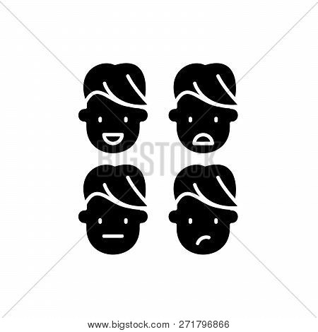 Emotional Intelligence Black Icon, Vector Sign On Isolated Background. Emotional Intelligence Concep