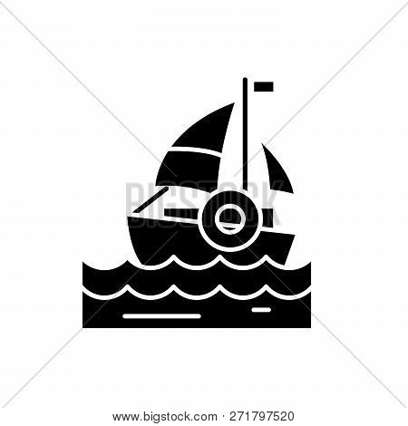 Sailing Black Icon, Vector Sign On Isolated Background. Sailing Concept Symbol, Illustration