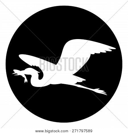 Black Heron Flying , Vector Illustration ,white Silhouette ,profile View