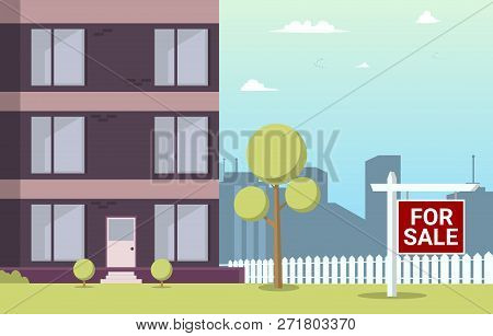 Vector Illustration Cartoon Apartment For Sale. Image Part New House. Sale Apartments In New Residen
