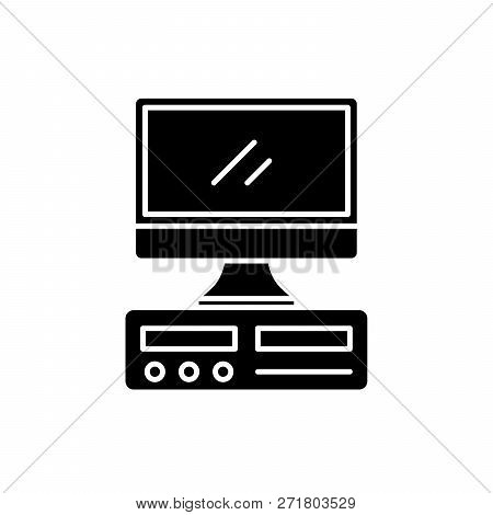 Desktop Computer Black Icon, Vector Sign On Isolated Background. Desktop Computer Concept Symbol, Il