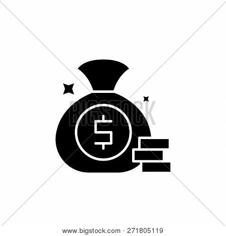 Cash Win Black Icon, Vector Sign On Isolated Background. Cash Win Concept Symbol, Illustration