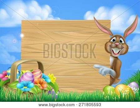 Cartoon Easter Scene Of An Easter Bunny Rabbit Pointing At A Sign With A Basket Full Of Decorated Ch