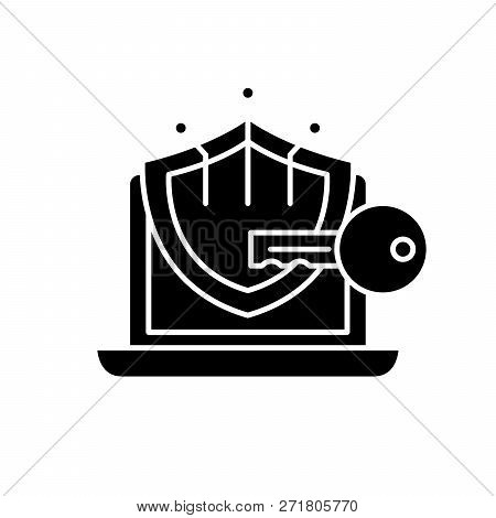 Cryptography Black Icon, Vector Sign On Isolated Background. Cryptography Concept Symbol, Illustrati