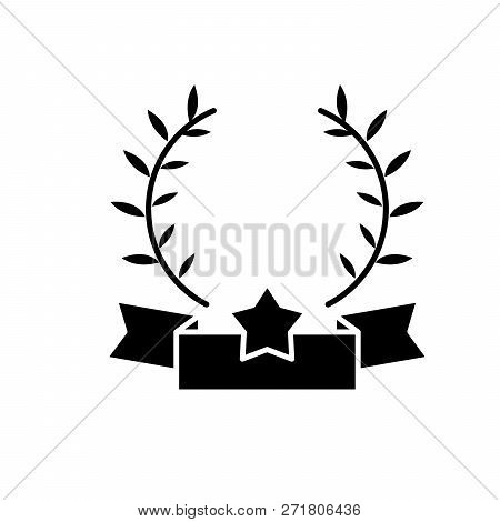 Emblem Of Victory Black Icon, Vector Sign On Isolated Background. Emblem Of Victory Concept Symbol,
