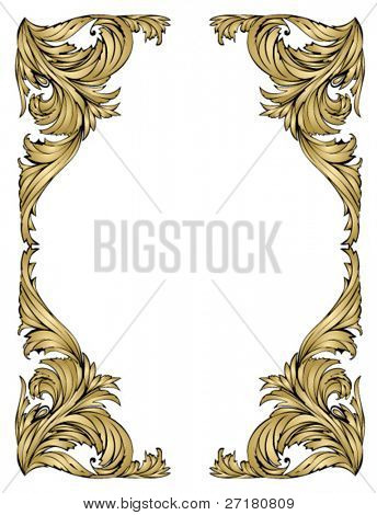 gold frame classic style, like frost on the window