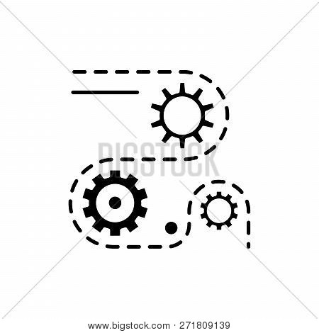 Manufacturing Processes Black Icon, Vector Sign On Isolated Background. Manufacturing Processes Conc