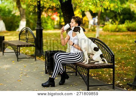Girl In Black And White Clothes With Black And White Stafford Sitting In Park And Drink Coffee Outdo