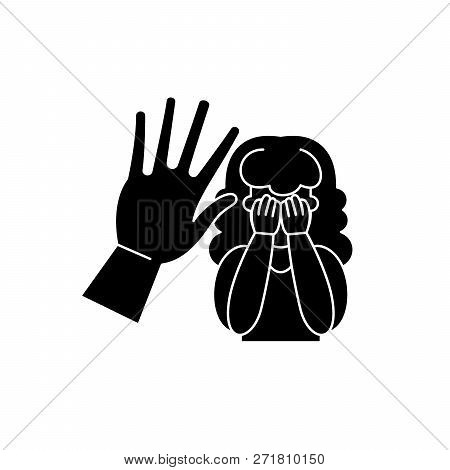 Physical Aggression Black Icon, Vector Sign On Isolated Background. Physical Aggression Concept Symb