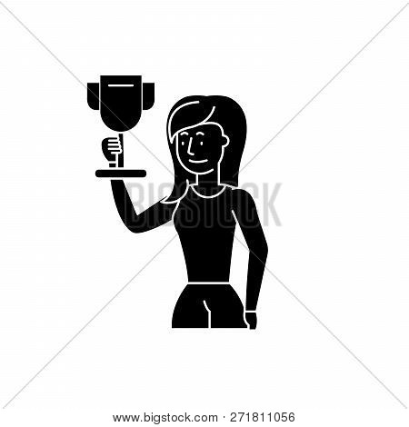 Business Champion Black Icon, Vector Sign On Isolated Background. Business Champion Concept Symbol,