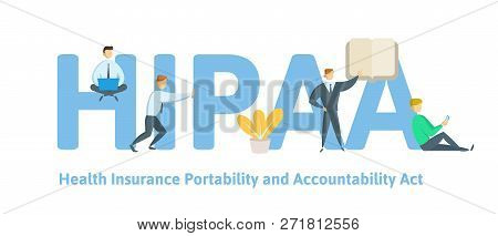 Hipaa, Health Insurance Portability And Accountability Act. Concept With Keywords, Letters And Icons