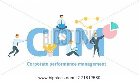CPM, Corporate Performance Management. Concept with keywords, letters and icons. Flat vector illustration on white background. poster