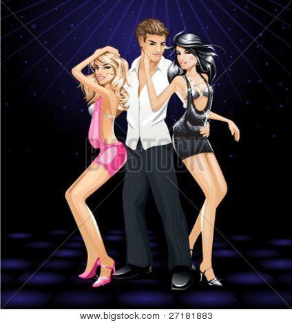 vector illustration of dancing girls and guy on dance floor in nightclub