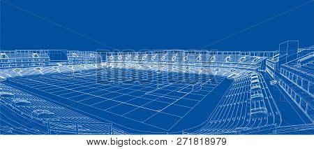 Sketch Of Football Stadium. 3d Illustration. Wire-frame Style