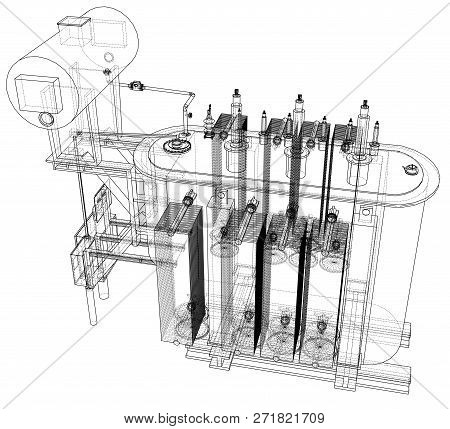 High-voltage Transformer Concept. 3d Illustration. Wire-frame Style