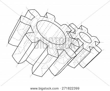 3d Gear Wheel. 3d Illustration. Wire-frame Style