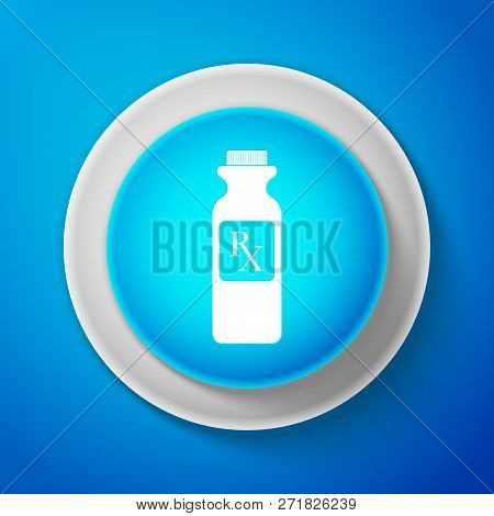 White Pill Bottle With Rx Sign And Pills Icon Isolated On Blue Background. Pharmacy Design. Rx As A