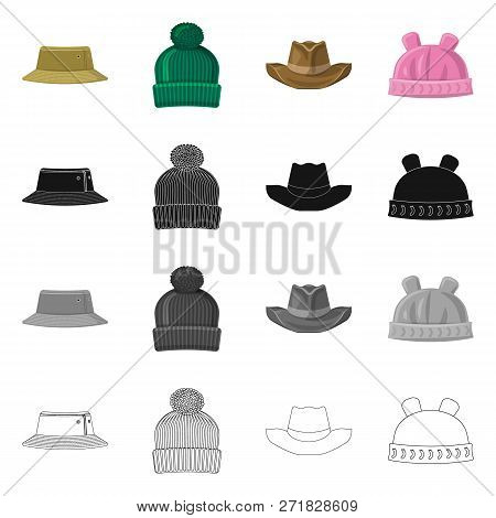 Vector Illustration Of Headgear And Cap Symbol. Collection Of Headgear And Accessory Vector Icon For