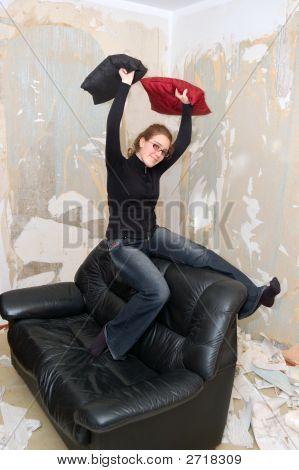 Young Girl On A Sofa