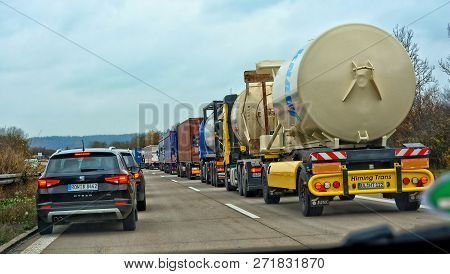Traffic Jam. Commercial Vehicles. Congestion. Cars On A Road. Many Lorries. Germany. Bavaria. Munich
