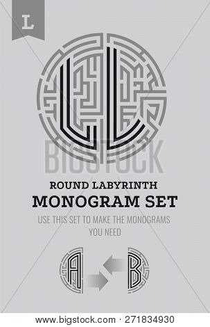 L Letter Maze. Set For The Labyrinth Logo And Monograms, Coat Of Arms, Heraldry, Abbreviation.