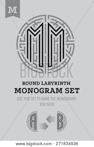 M Letter Maze. Set For The Labyrinth Logo And Monograms, Coat Of Arms, Heraldry, Abbreviation.