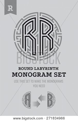 R Letter Maze. Set For The Labyrinth Logo And Monograms, Coat Of Arms, Heraldry, Abbreviation.