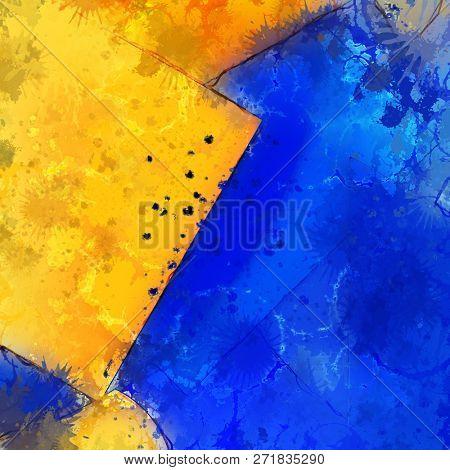 Illustration of a modern blue and orange splatter background