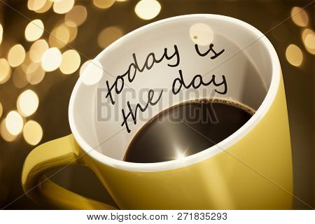 A yellow cup of coffee with surprise text today is the day 3d illustration