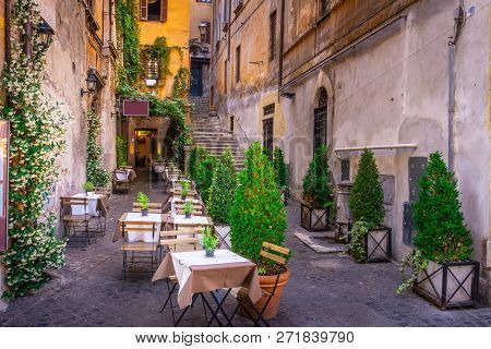Cozy Street In Downtown, Rome. Touristic Attraction Of Rome.