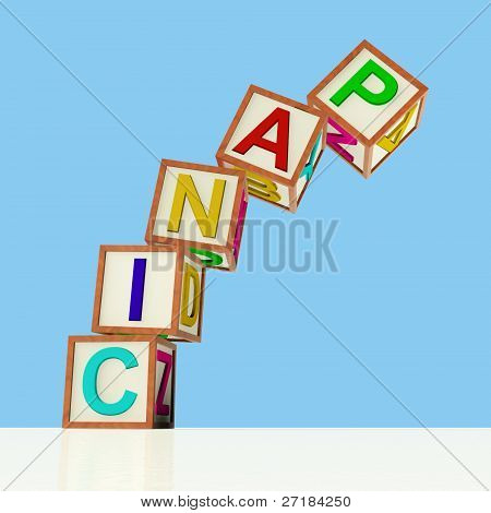 Blocks Spelling Panic Falling Over As Symbol for Emergency And S