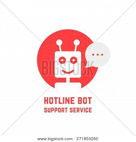 Red Hotline Bot Support Service Logo. Concept Of Ai Avatar Chat Bot Icon Robot For Talking Or Fintec