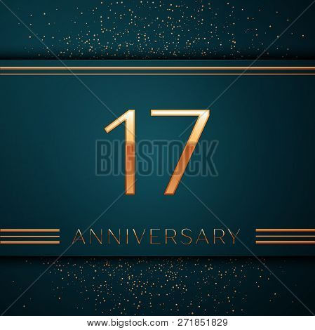 Realistic Seventeen Years Anniversary Celebration Design Banner. Golden Number And Confetti On Green