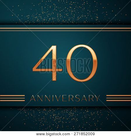 Realistic Forty Years Anniversary Celebration Design Banner. Golden Number And Confetti On Green Bac