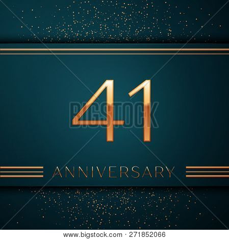 Realistic Forty One Years Anniversary Celebration Design Banner. Golden Number And Confetti On Green