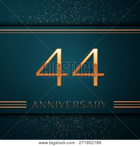 Realistic Forty Four Years Anniversary Celebration Design Banner. Golden Number And Confetti On Gree