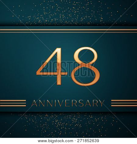 Realistic Forty Eight Years Anniversary Celebration Design Banner. Golden Number And Confetti On Gre