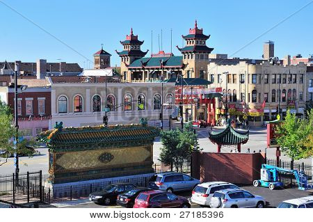 CHICAGO, IL - Oct 3: Chicago Chinatown street on October 3, 2011 in Chicago, Illinois. Chicago is the second oldest settlement of Chinese in America after the Chinese fled persecution in California.