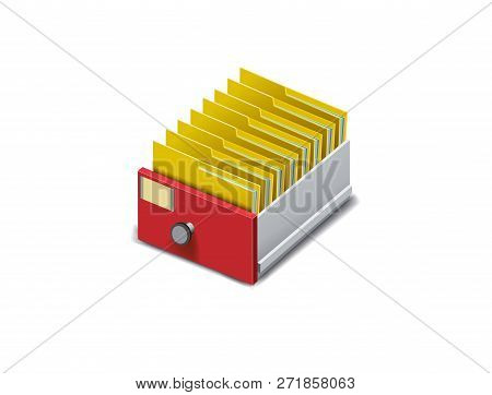 Archive. Folder In The Archives. Drawer With Folders For Files. Isometric Archive. Archive Documents