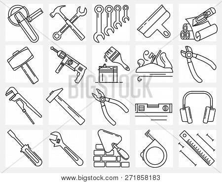 Modern Linear Pictogram Of Building Tools. Set Of Concept Line Icons Building Tools. Construction, H