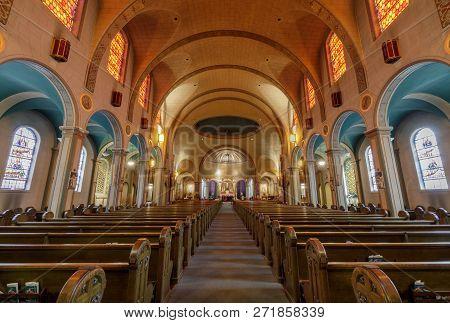 San Francisco, California - March 10, 2018: Interior Of Basilica Church Of Mission San Francisco De
