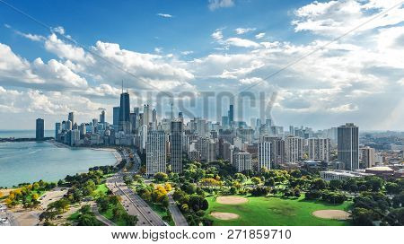 Chicago Skyline Aerial Drone View From Above, Lake Michigan And City Of Chicago Downtown Skyscrapers