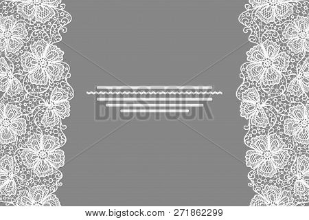 Card With White Lace Flowers Border. White Floral Lace Pattern