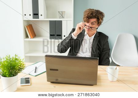 Humor, Joke And Business People Concept - Funny Man Tired After Working On Computer In Office
