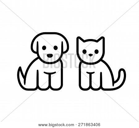 Simple Line Icon Design Of Puppy And Kitten. Cute Little Cartoon Dog And Cat Vector Illustration. Ve